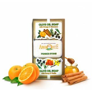 Мыло оливковое в наборе с пемзой, (апельсин/корица и мед/ваниль)