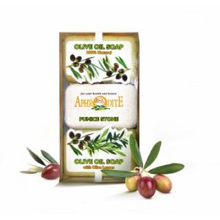 Мыло оливковое в наборе с пемзой, (натуральное и с листьями оливы)